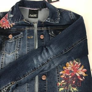 NWT Nanette Lepore Embroidered Trucker Jacket